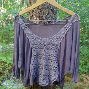 finale touch 3/4 sleave shirt with crochet back